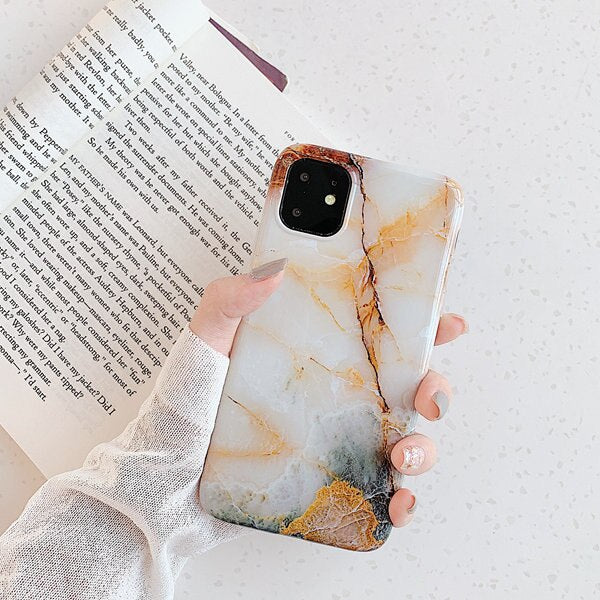 Orange Glossy Marble Phone Cases - Gadgets Center