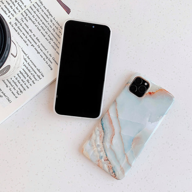 Blue Glossy Marble Phone Cases
