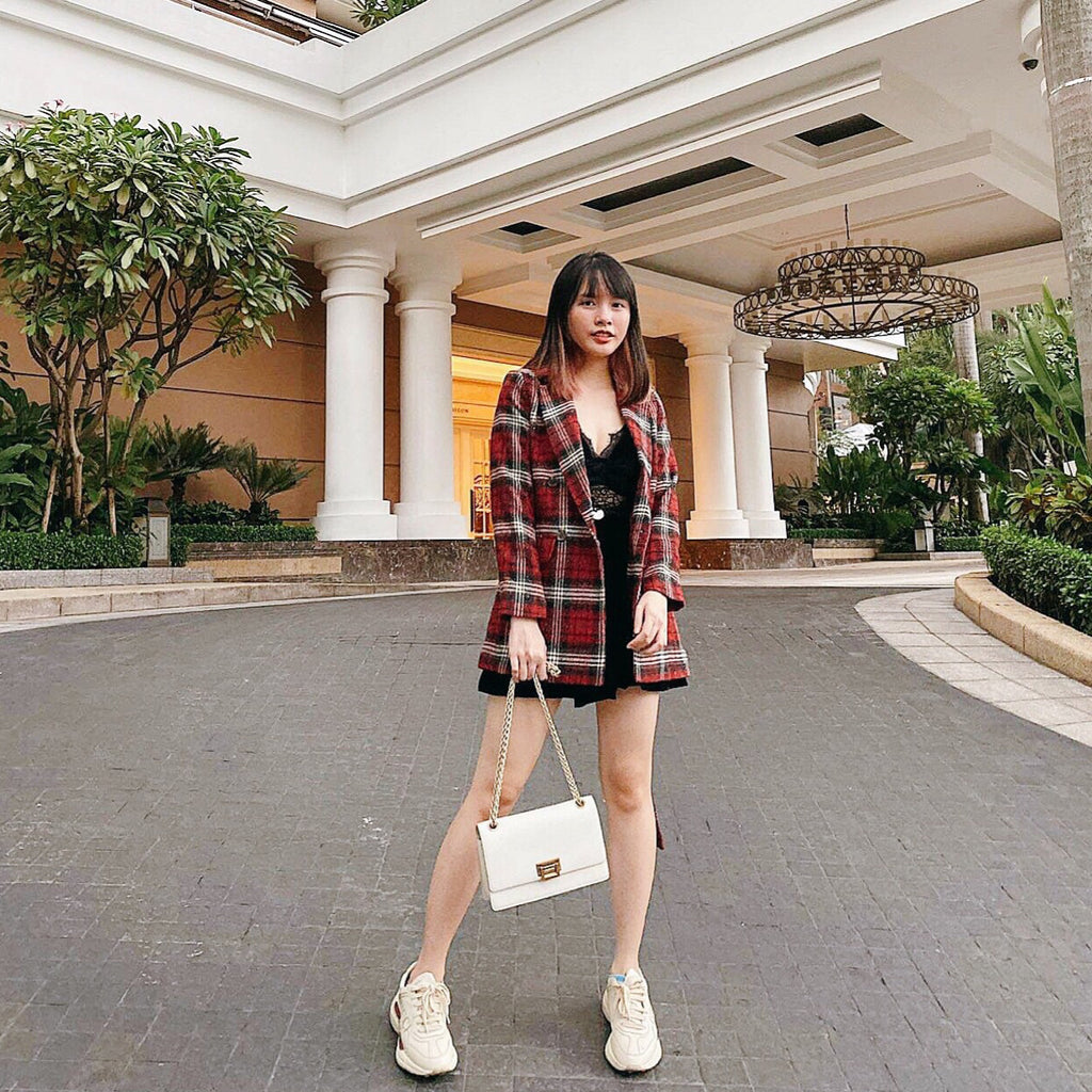 Fall Winter Red Plaid Blazer