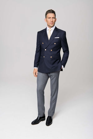Custom Made Navy Double-breasted Suit Jacket+Grey Trousers