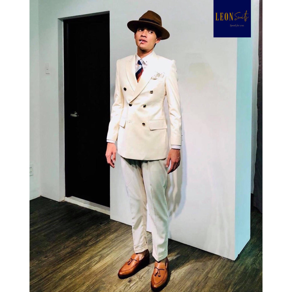 Cream Beige Double-breasted Suit