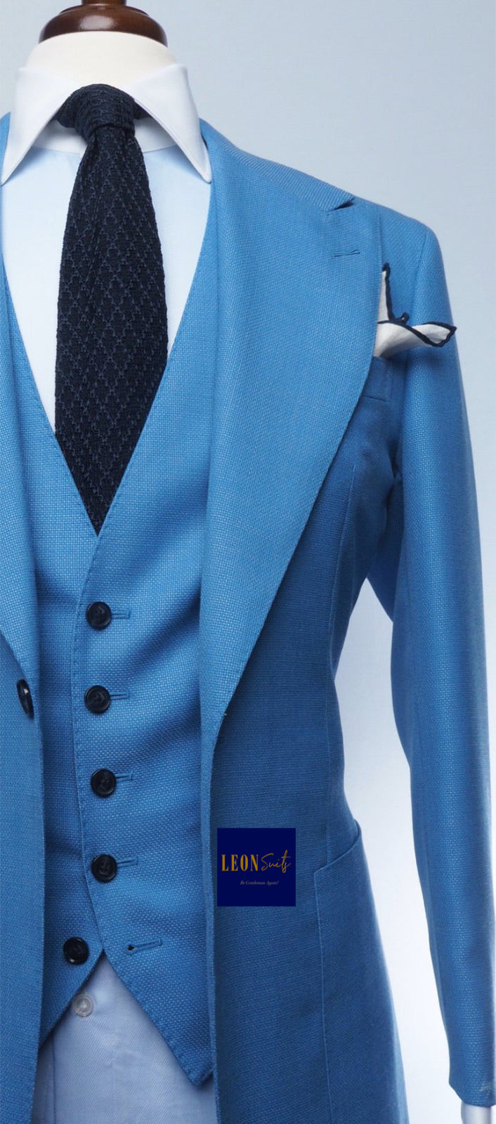 Premium Bespoke Light Blue 3-Piece Suit