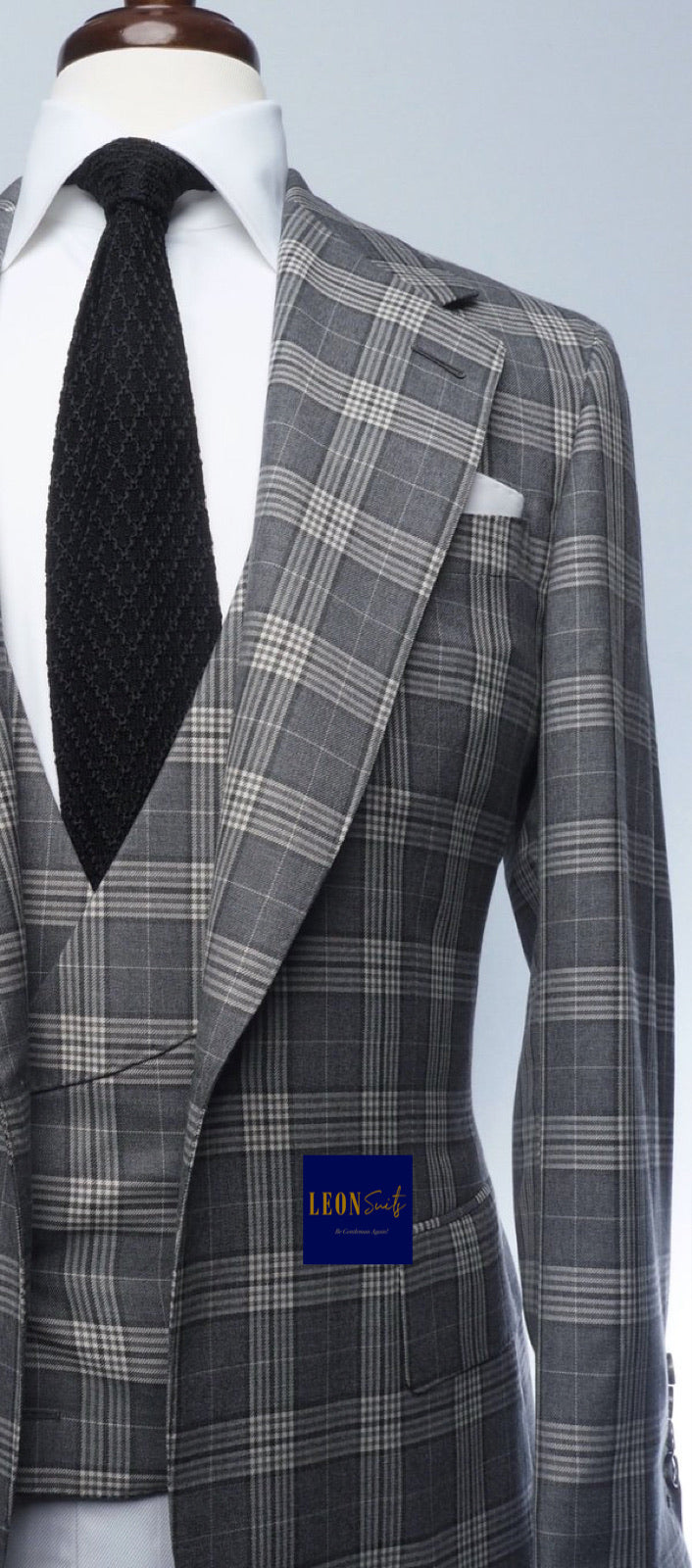 Premium Grey Plaid 3-Piece Suit