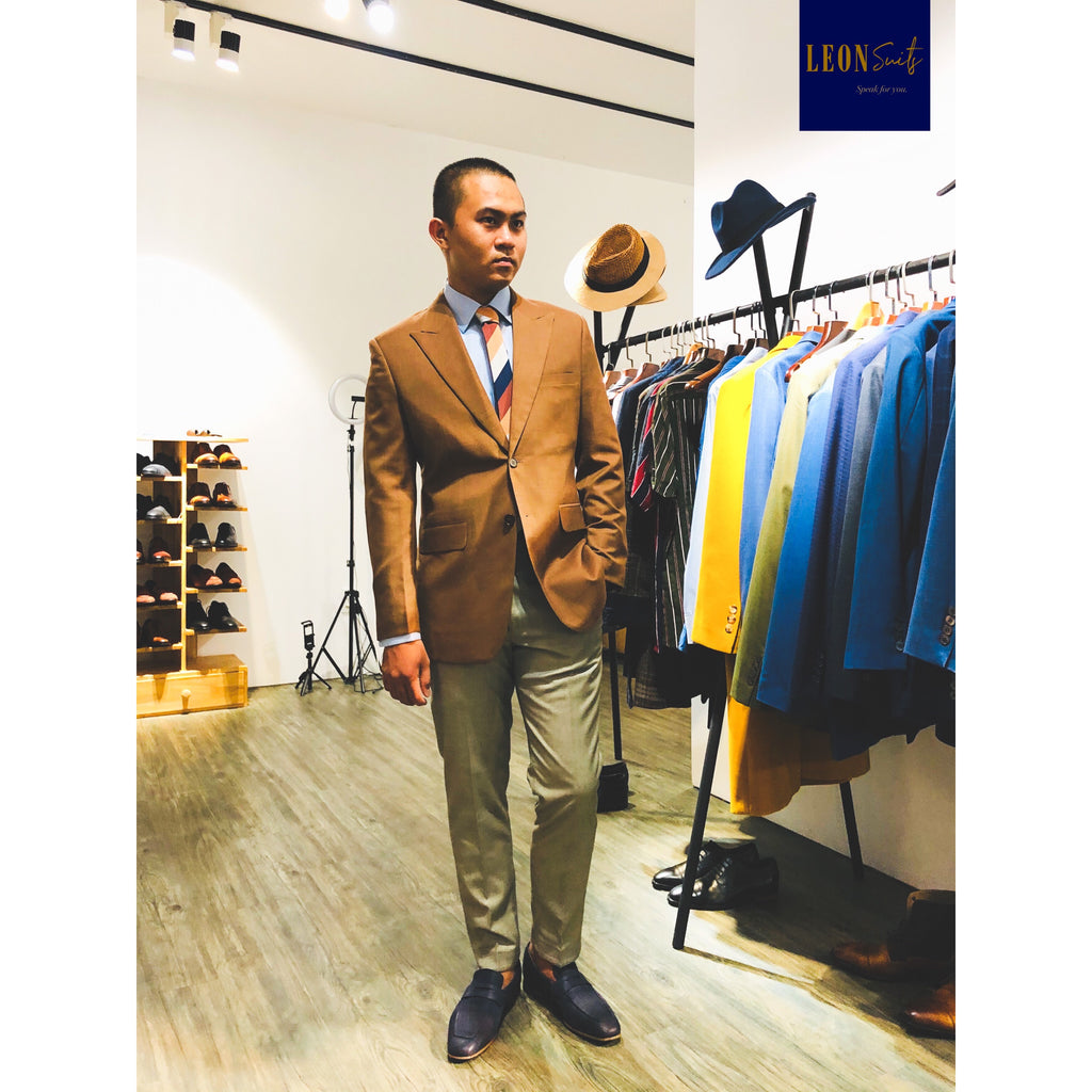 Brown Suit Jacket with Yellow Beige Trousers