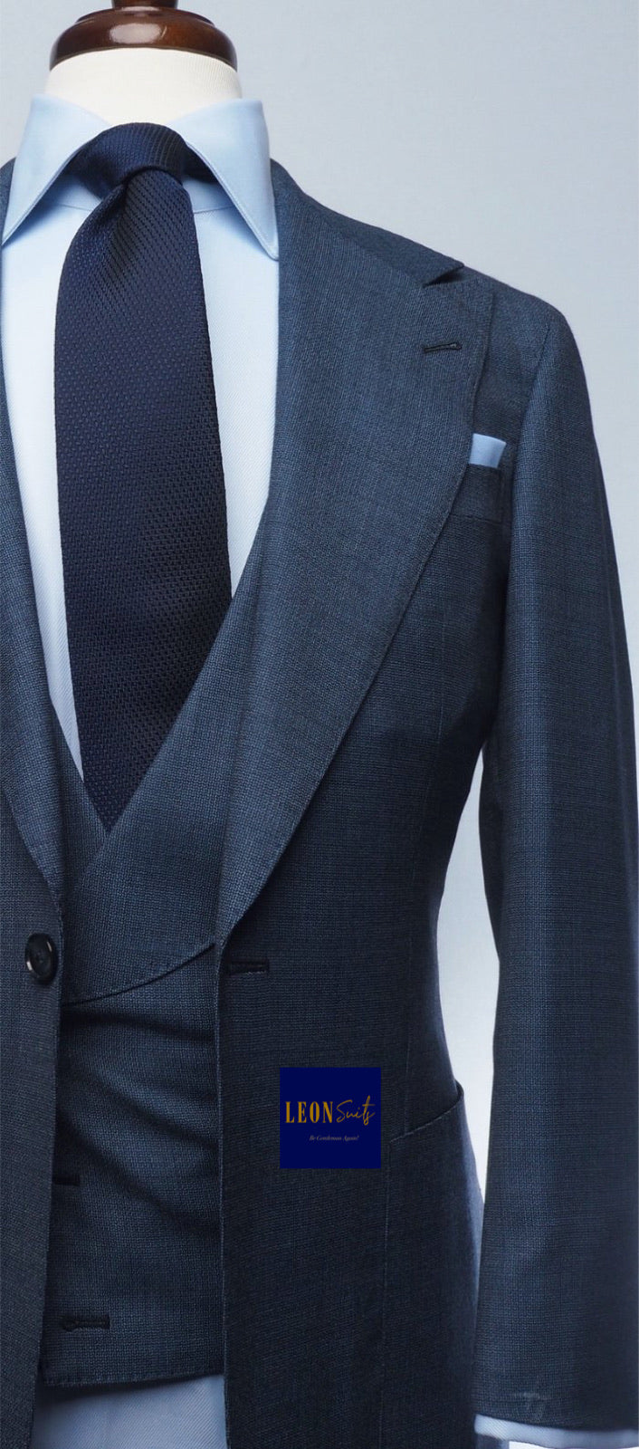 Premium Bespoke Blue in Grey tone 3-Piece Suit