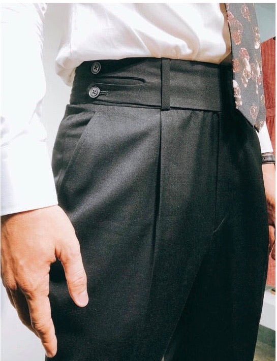 Custom Made Classic Black Highwaist Trousers