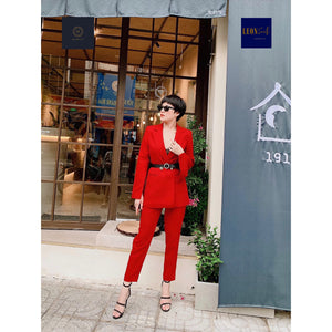 Lady-in-Red Double-breasted Suit