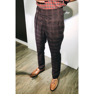 Custom Made Standard Plaid Brown Classic Highwaist Trousers