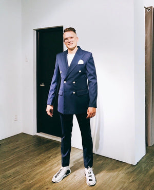 Custom Made Navy Double Breasted Suit