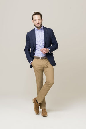 Custom Made Navy Suit Jacket+Beige Trousers
