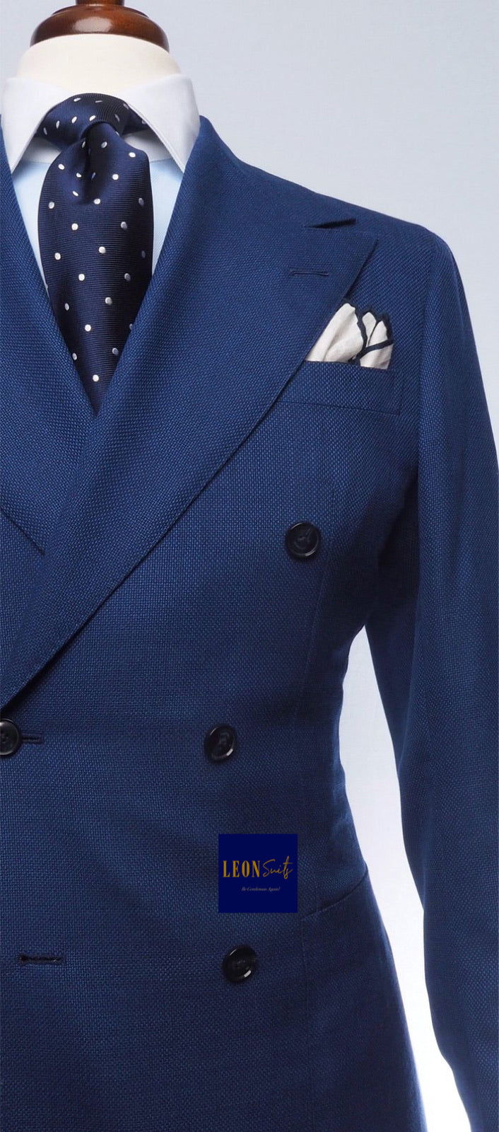 Premium Bespoke Medium Blue Double Breasted Suit