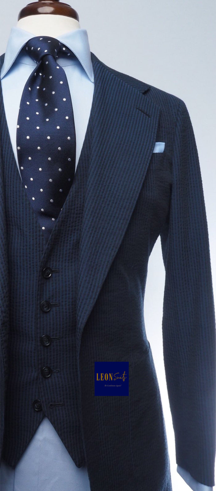 Premium Bespoke Striped Navy 3-Piece Suit