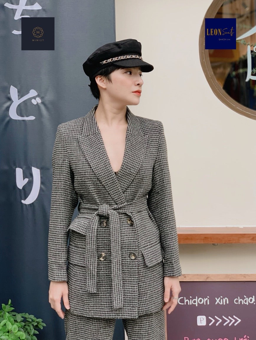 Vintage Fall Winter Grey Houndstooth Double-breasted Suits