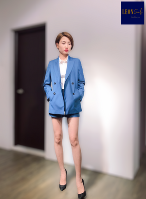 Blue Double-breasted Suit with 'A' shaped Trouser Shorts