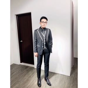 Standard Custom Made Black White Edged 3 Piece Suit