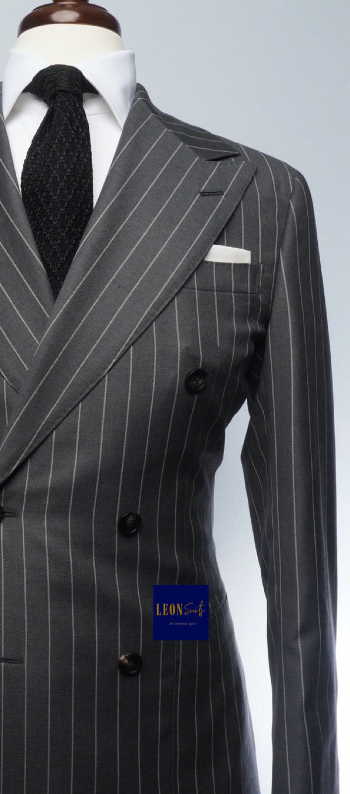 Premium Bespoke Striped Black Double-Breasted Suit