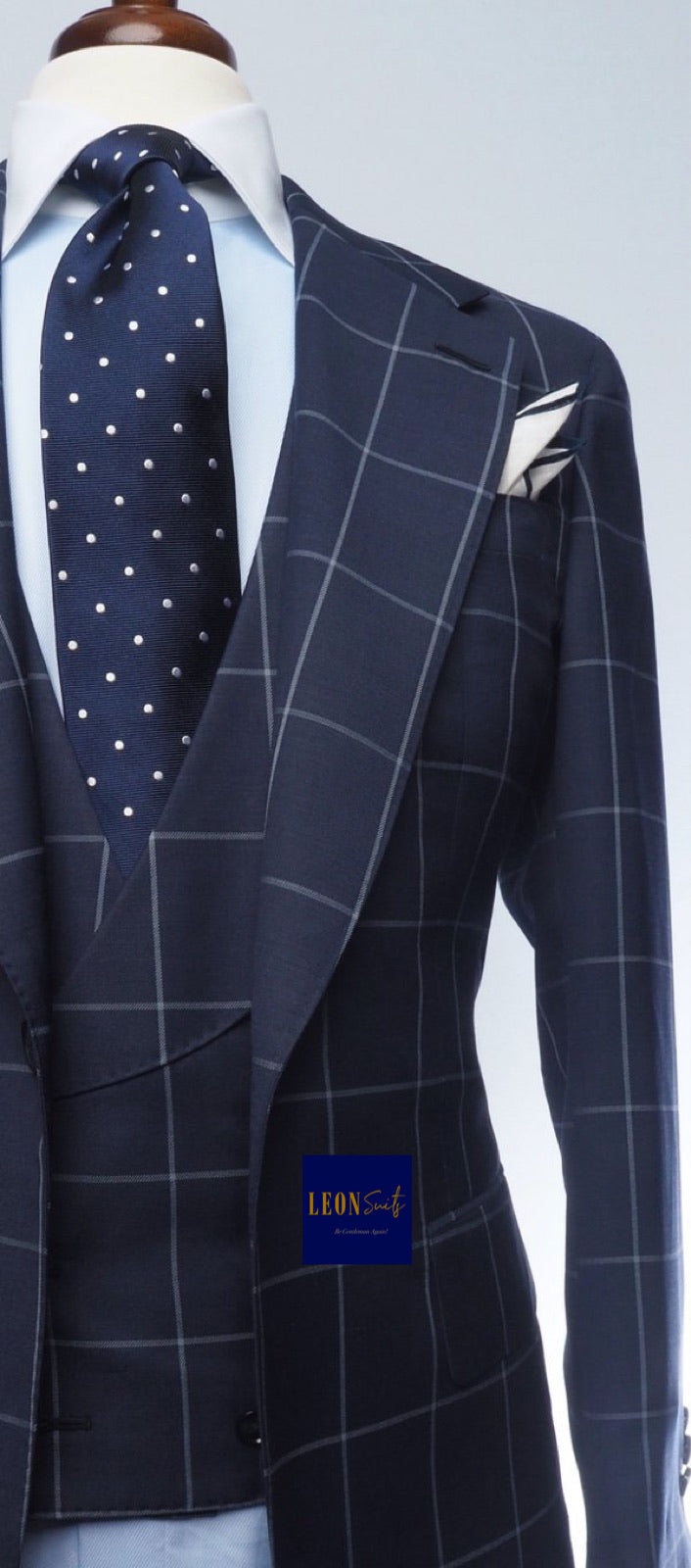 Premium Bespoke Navy w/ Windowpane 3-Piece Suit