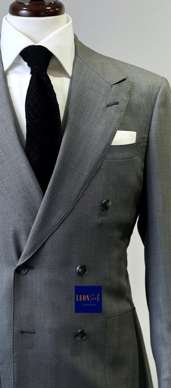 Premium Medium Grey Double-Breasted Suit