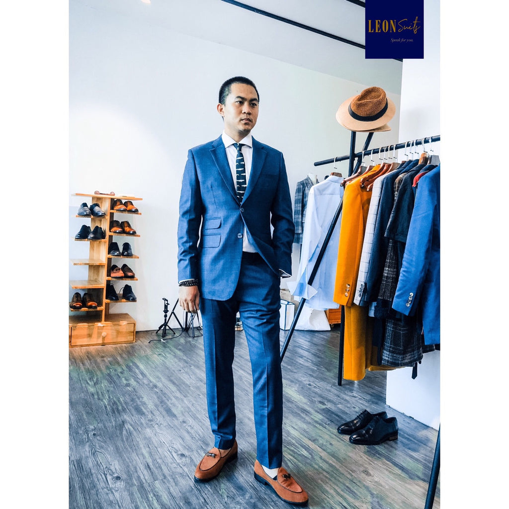 Rake Leon Premium Bird Eye Navy in Sophisticated Windowpane Suit