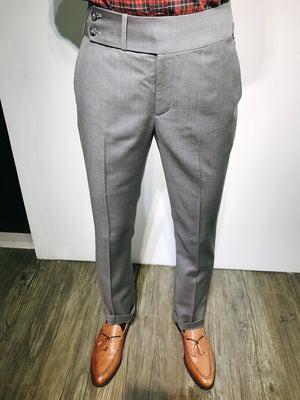 Custom Made Standard Light Grey Classic Highwaist Trousers