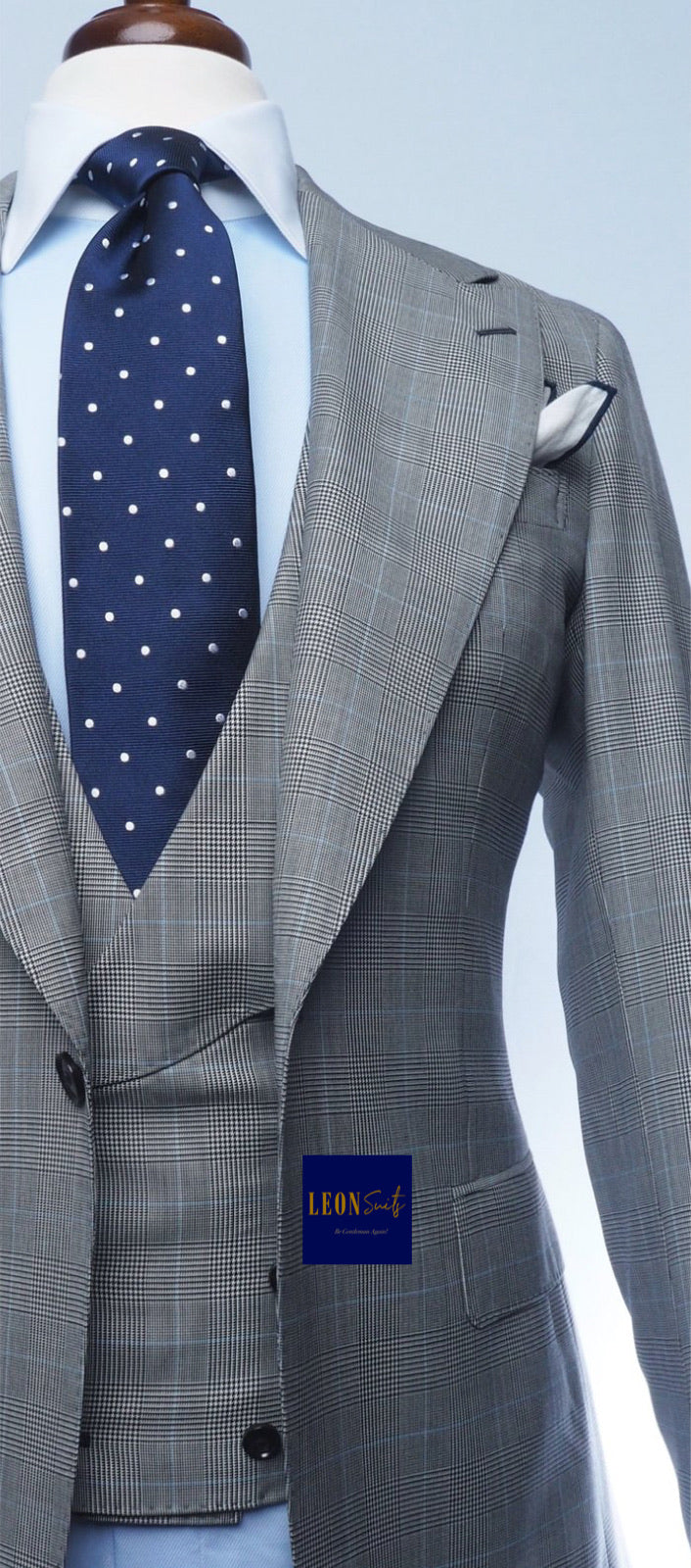 Premium Bespoke Grey Prince of Wales 3-Piece Suits