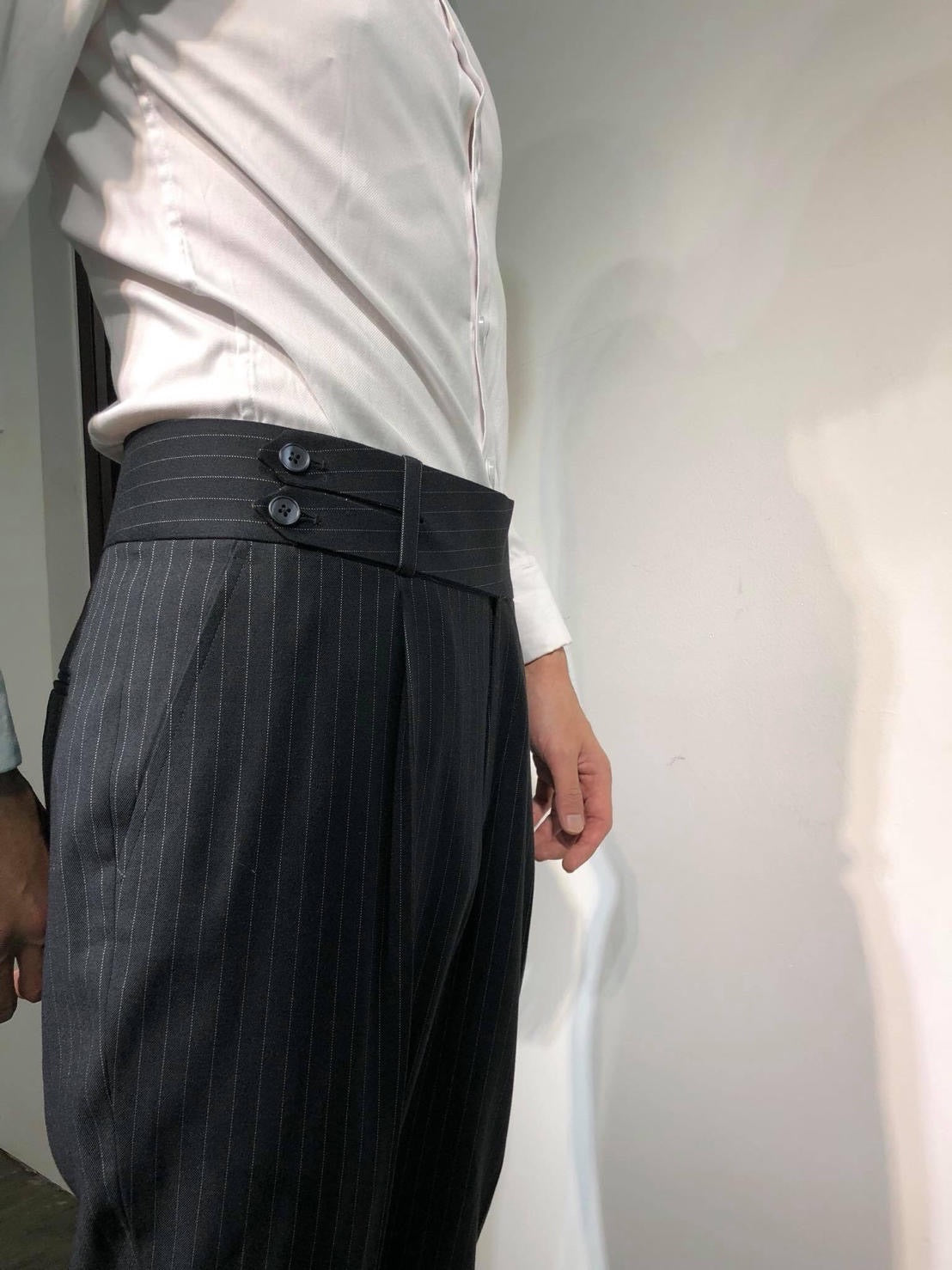 Custom Made Standard Stripe Black Classic Highwaist Trousers