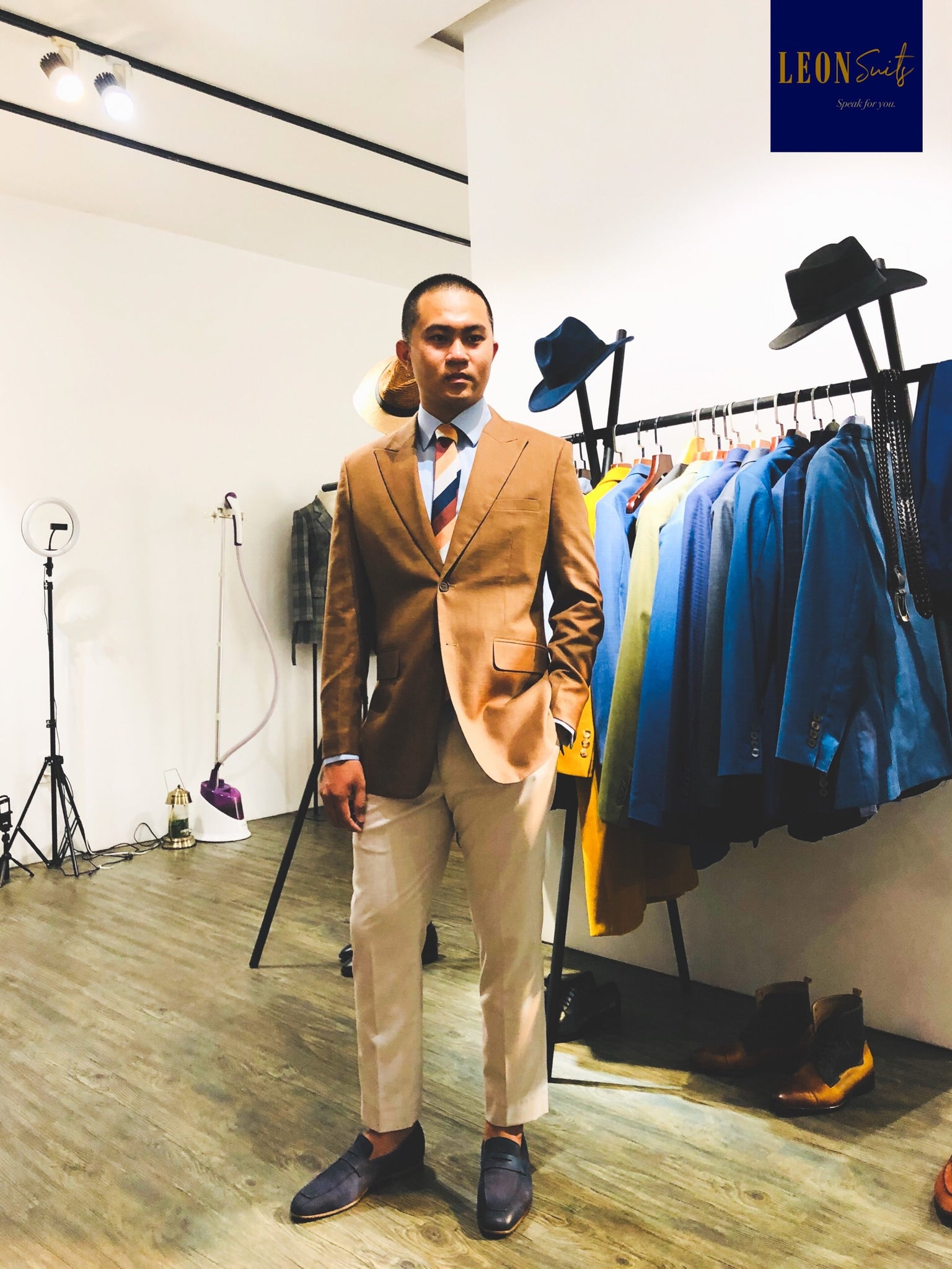 Brown Suit Jacket with White Beige Trousers