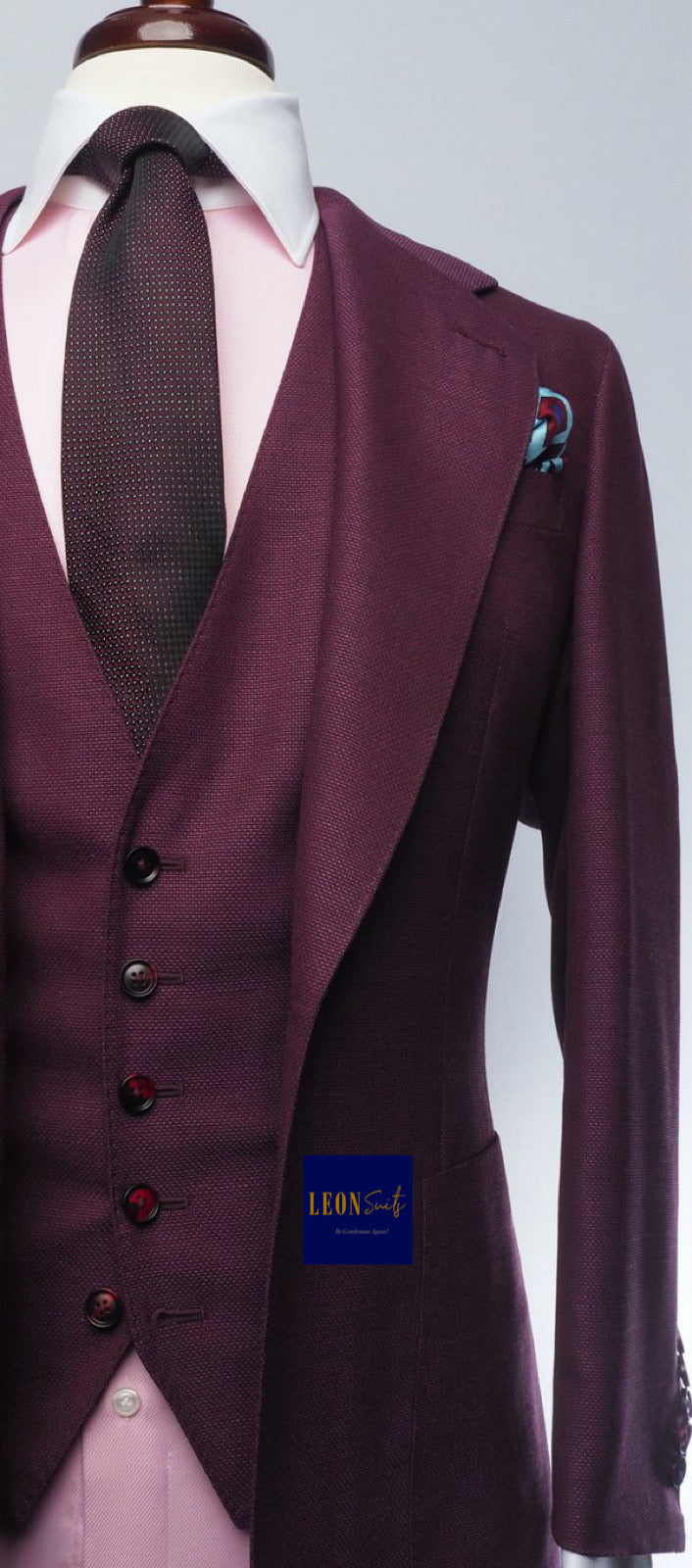 Premium Bespoke Bordeaux Red 3-Piece Suit