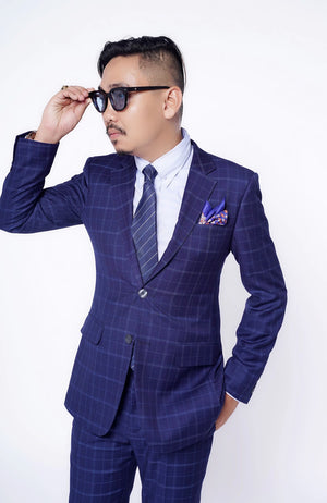 Standard Custom Made CONTEMPORARY Navy Plaid