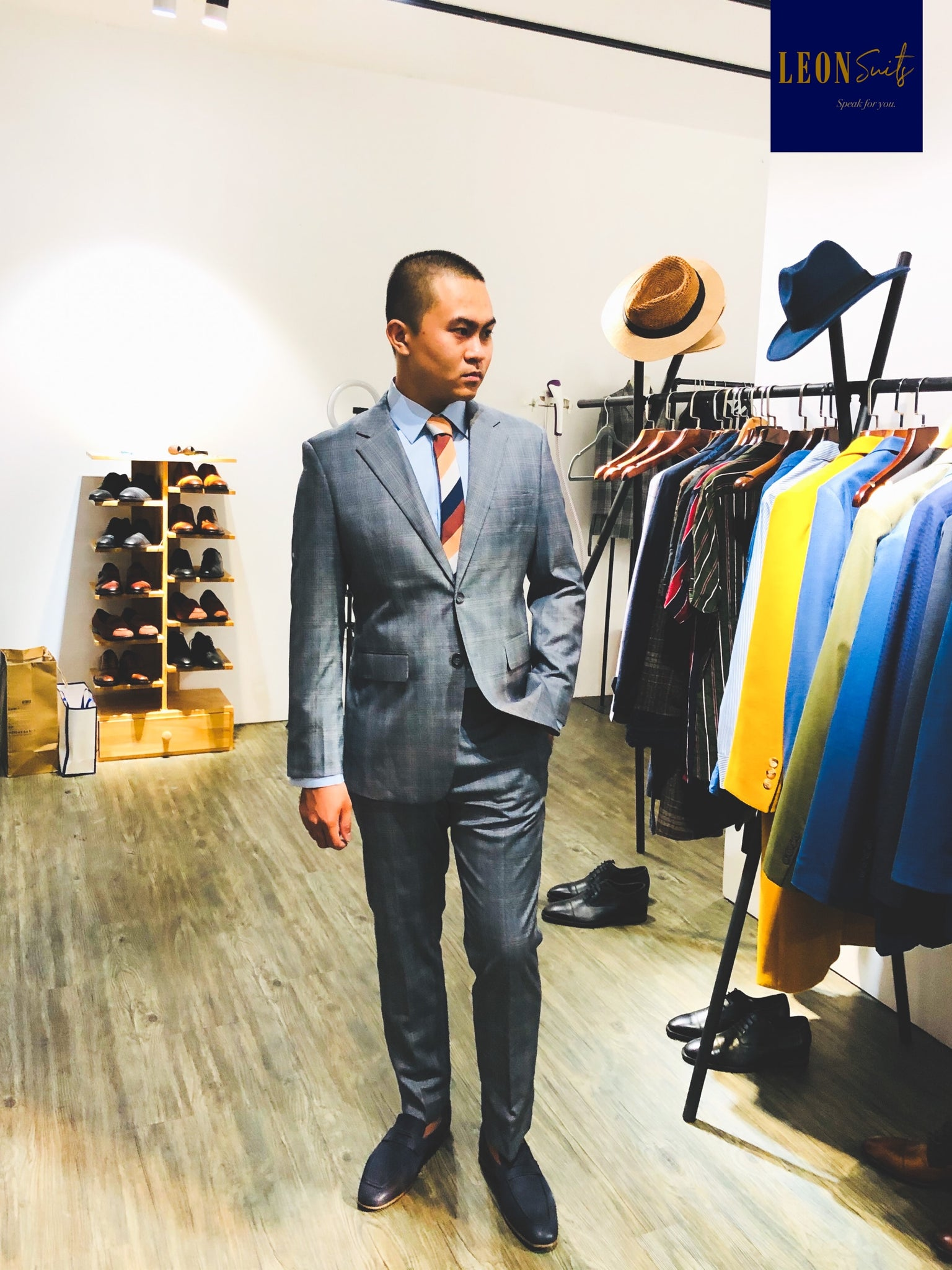 Custom Made Grey Prince of Wales Suit