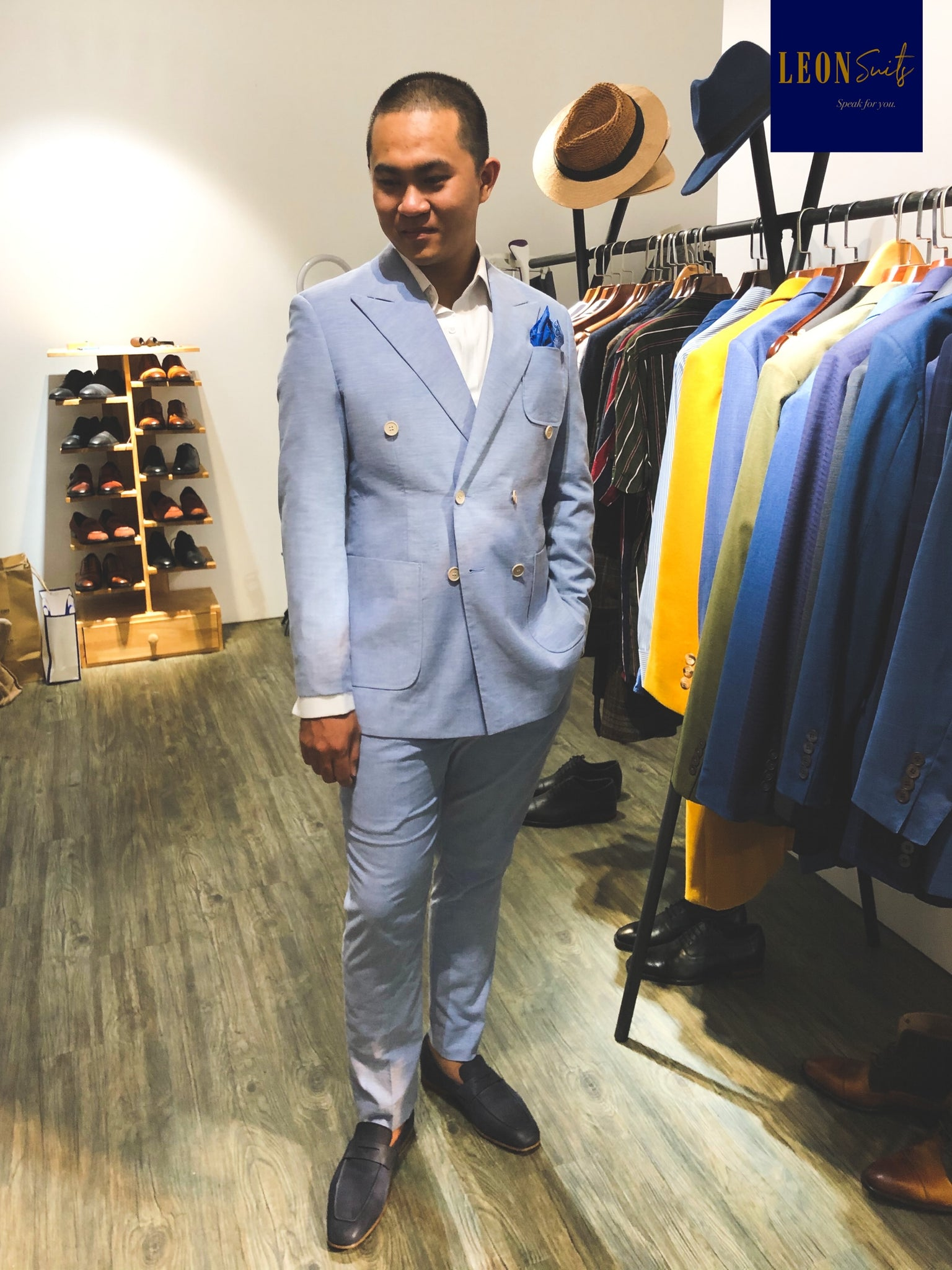 Light Blue Linen Cotton Half-Lining Double-breasted Suit