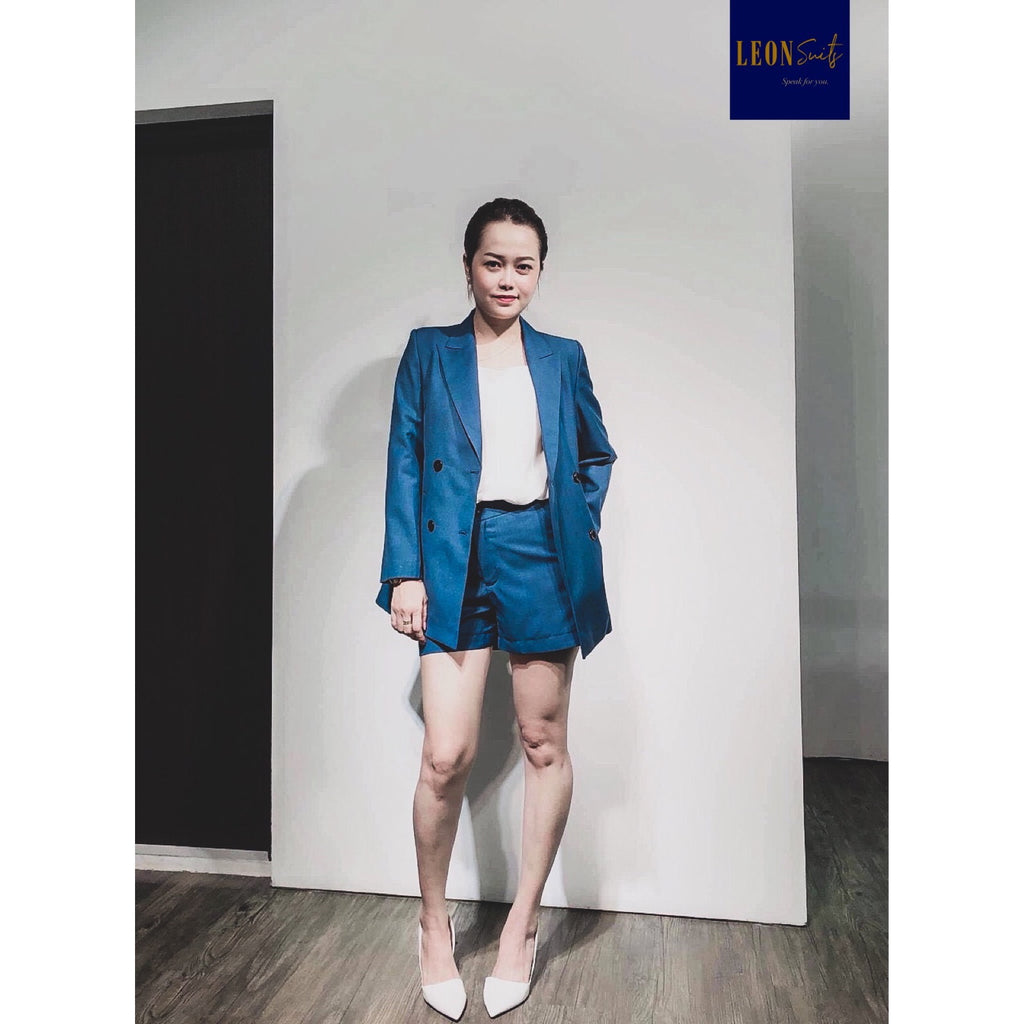 Custom Made Blue Double-breasted Lady Suit with Shorts