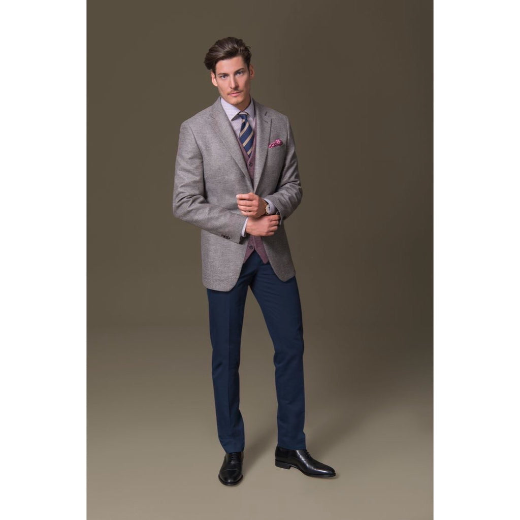 Custom Made Grey Suit Jacket + Navy Trousers