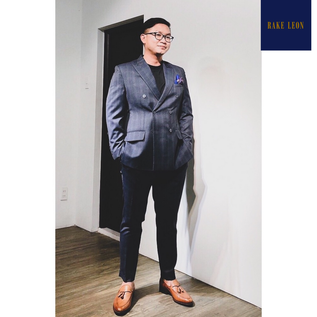 Rake Leon PREMIUM Oil/Water Repellent Navy Plaid/Windowpane Double-breasted Suit