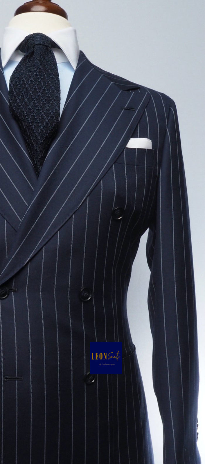 Premium Bespoke Navy w/ Vertical Stripe Double Breasted Suit