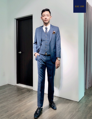 RAKE LEON Blue Prince of Wales 3-piece Suit