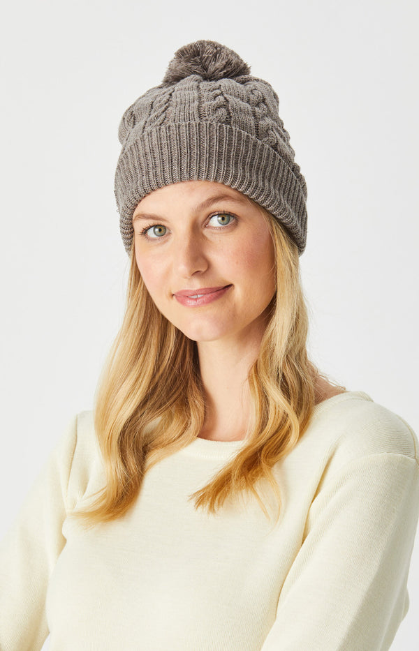Merino Cable Beanie with Pom Pom