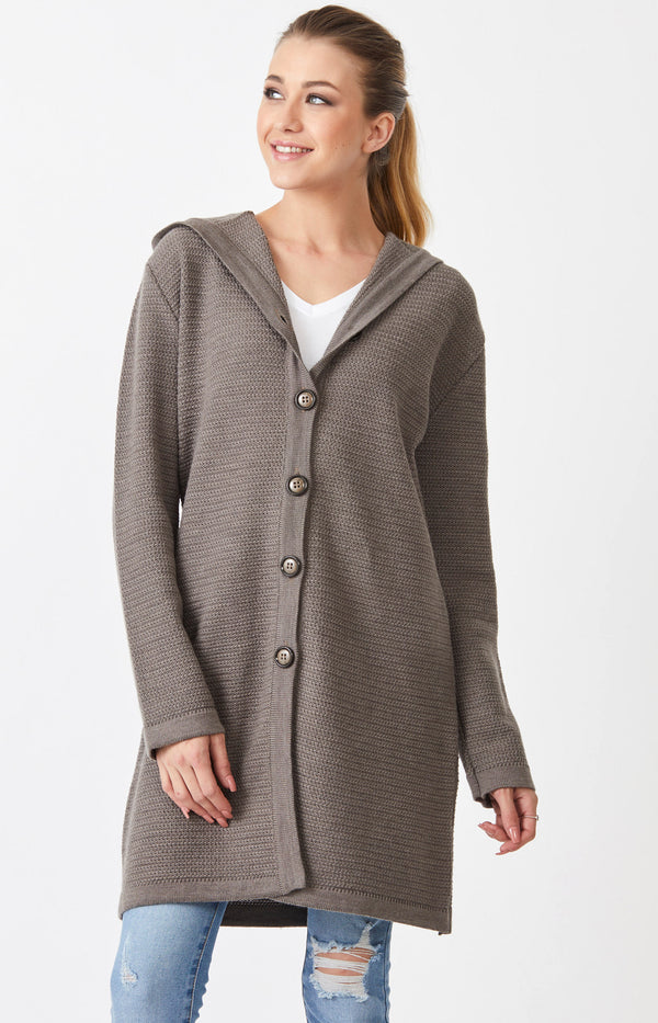 Waffle Knit Hoodie Coat