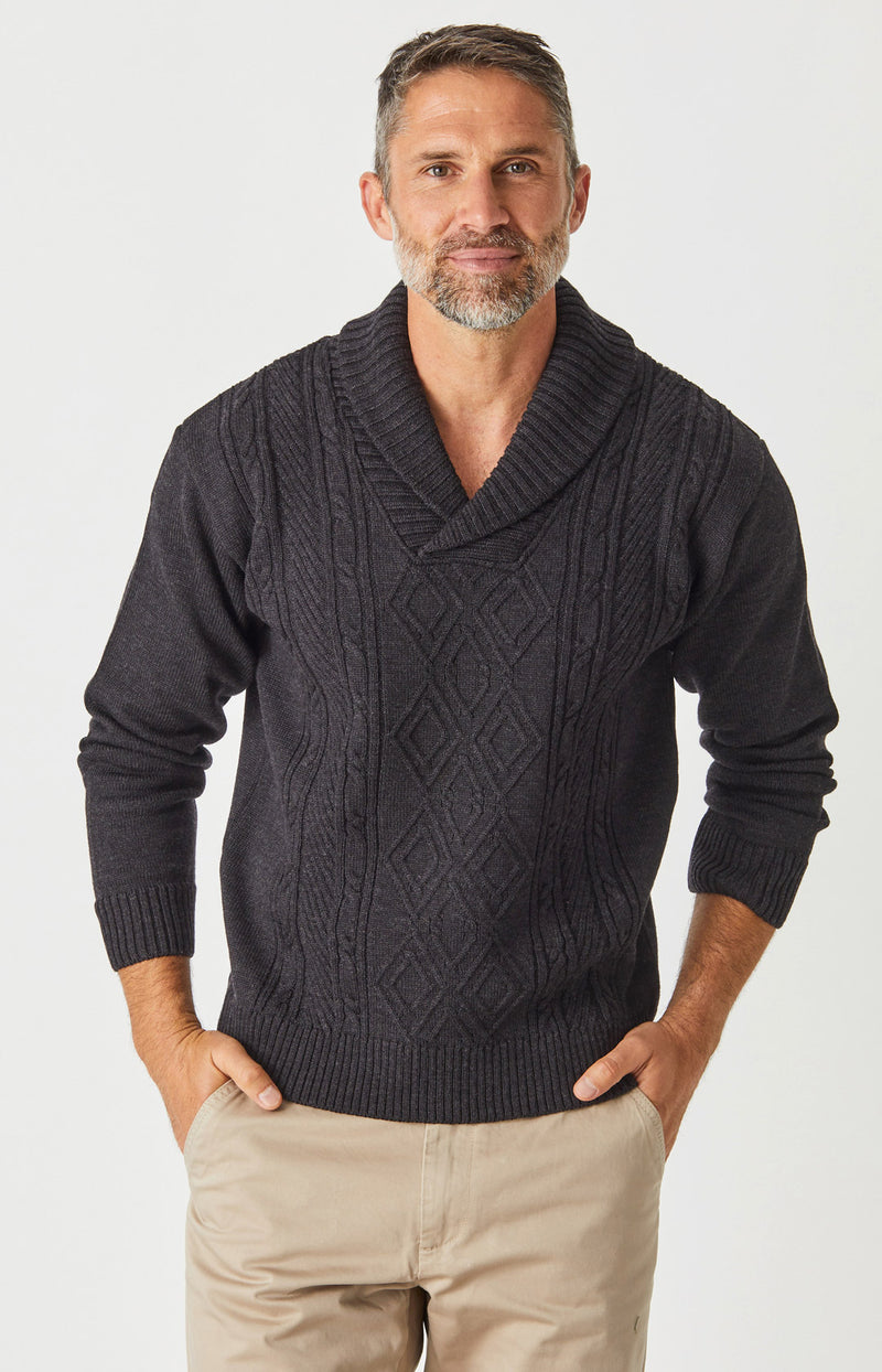 Aaron Cable Shawl Sweater