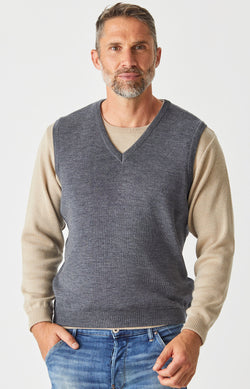 Merino V Neck Vest - Wallaby