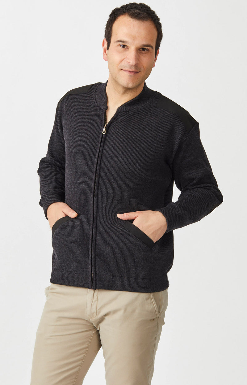 Merino Patch Zip Cardigan with Suede