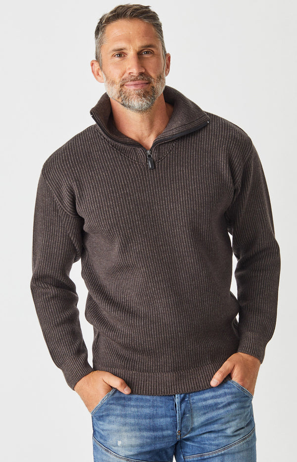 Merino Half Zip Open Collar Sweater