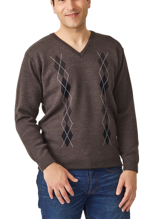Argyle V Neck Sweater - Aklanda Australia