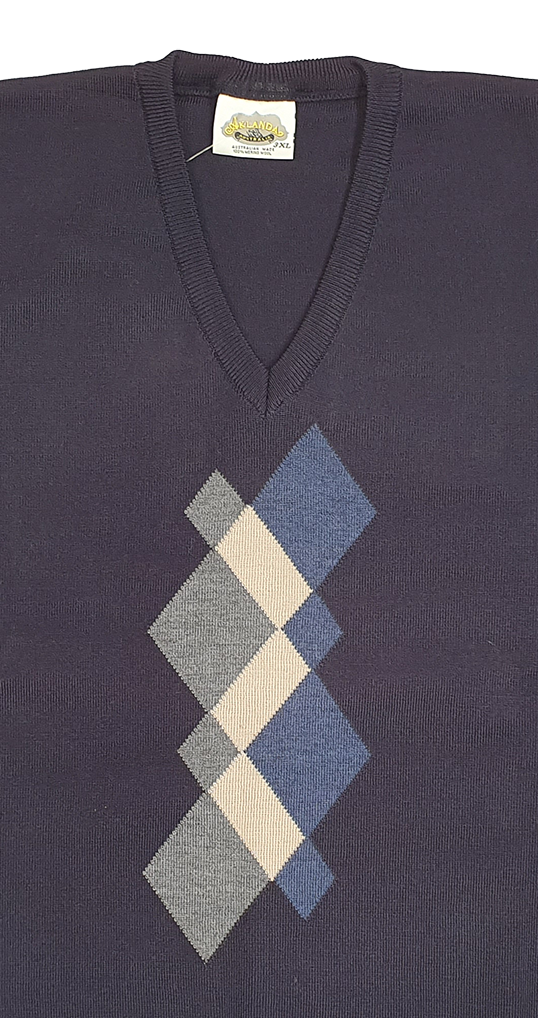 Argyle Pattern V Neck Sweater - Aklanda Australia