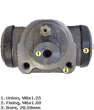 Brake wheel cylinder, FRONT, drum brake 2cv, Dyane, Mehari, AK, AZU, 1970 to 1981. Fits left or right. NEW LOWER PRICE