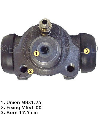 Brake wheel cylinder, 2cv REAR 1970 to 6/1981 (for AK see notes), DOT3 or DOT4 fluid 17.5mm diam.