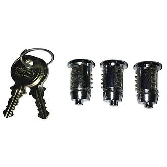 Lock barrels, set of 3 and 2 keys, 2cv4/2cv6. (Not Dyane) Best quality.. Click for sizes.