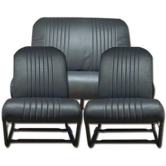 Seat cover set, black perforated targa vinyl, for seats with two round corners each.