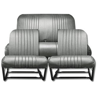 Seat cover set, black perforated targa vinyl, for seats with one round corner each. See notes