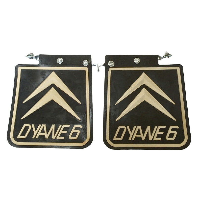 Mud flap, Dyane only, rear, pair, with chevrons and simple, adaptable fittings.
